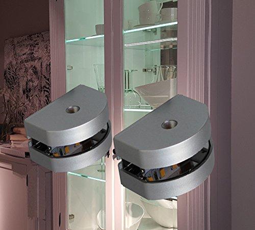 LED 3-Seiten Glaskantenbeleuchtung / 2295WW / LED Komplettset / Glasbodenbeleuchtung / LED Clip / Lichtfarbe warm weiß / Vitrinenbeleuchtung / Glasplattenbeleuchtung / Möbelbeleuchtung (2-er Set)