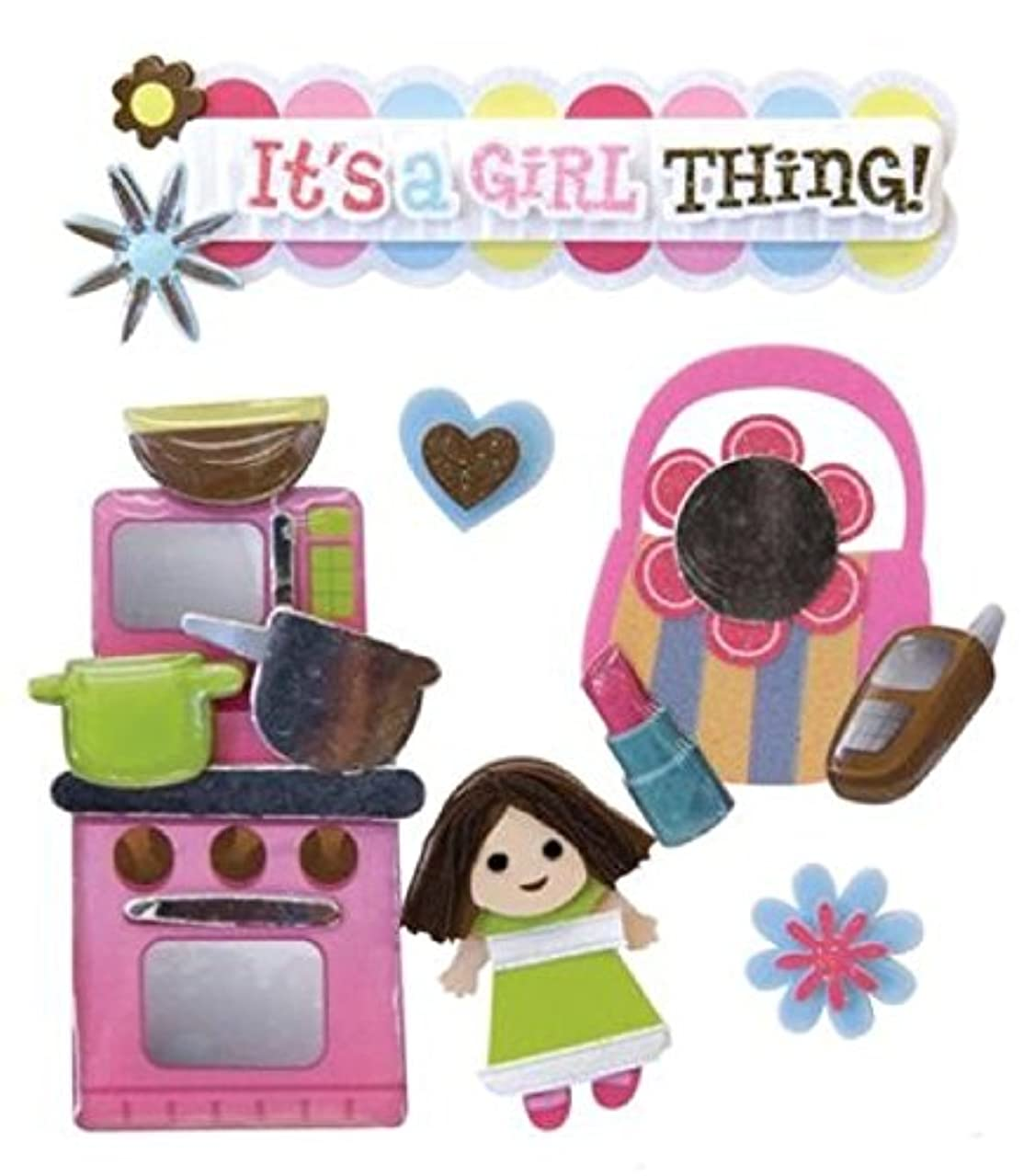 Karen Foster It's a Girl Thing Design Scrapbooking Stacked Sticker, 12 by 12