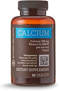 Amazon Elements Calcium plus Vitamin D, Calcium 500mg with D2 600IU, Vegan, 65 Tablets (2 month supply)