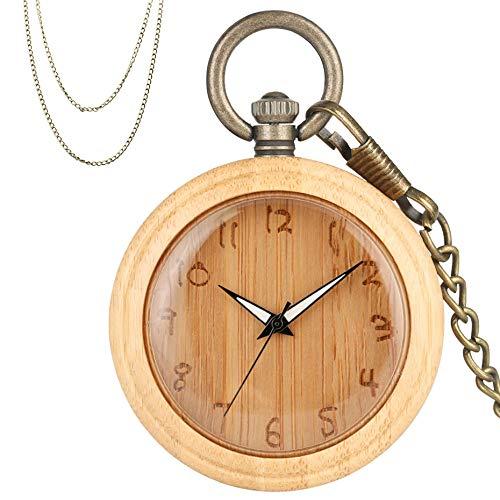 XVCHQIN Reloj de Bolsillo de Cuarzo de bambú, exhibición de números árabes creativos, Reloj Retro de Madera, Relojes Colgantes con Cadenas de Bronce, Madera