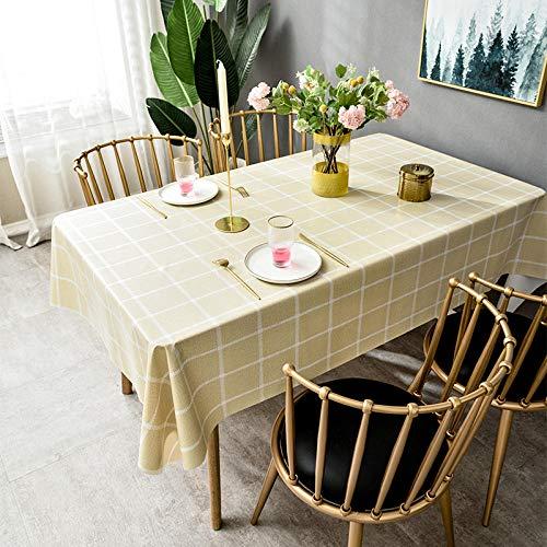 Ahuike Mantel para Mesa Patrón de Cocina Salón Rectangular Cloruro de Polivinilo Impermeable Lavable Diseño de Comedor Amarillo 140 × 220cm