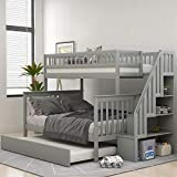 Solid Wood Twin Over Full Bunk Beds with Trundle, Bunk Beds for Kids with Stairs and Guard Rail (Gray (Bunk Bed with Trundle))