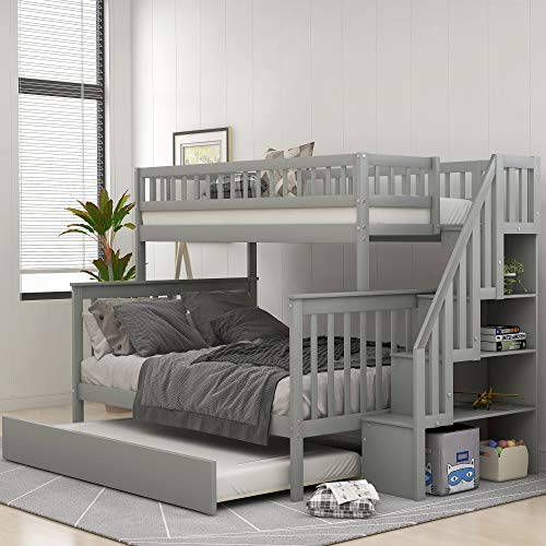 mattress cover for storages Twin Over Full Bunk Bed with Trundle and Staircase, Baysitone Wood Bunk Bed Frame with 4 Storages and Guardrails, Can Be Separated Into 3 Beds, No Box Spring Needed (Gray)