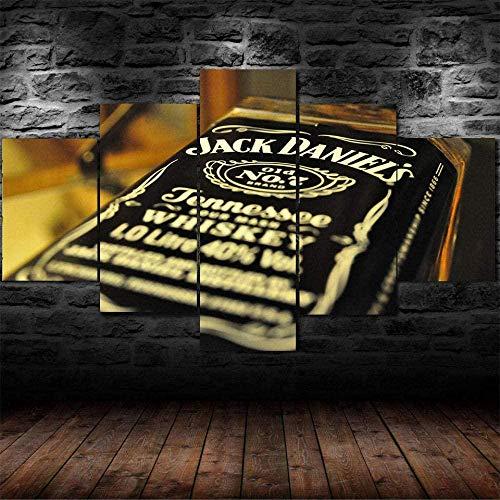 JIUGE 5 Panel Wandkunst Leinwand Malerei Moderne gerahmte Kunstwerke Die Bilder Hintergrund Wand Tapete Stück Wandbild Hintergrund Jack Daniels Whisky Bourbon