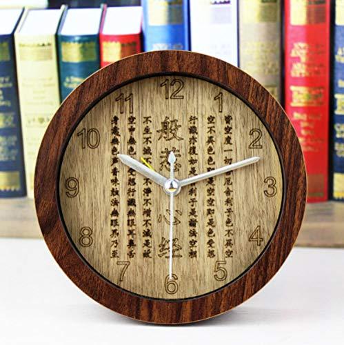 Qolooy Kreative Uhr Prajna Herz Holz Wecker Buddha Wecker Massivholzschnitzerei kreative Uhr @ Peach...