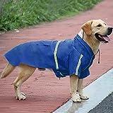 okdeals Dog Raincoat Leisure Waterproof Lightweight Dog Coat Jacket Reflective Rain Jacket with Hood for Small Medium Large Dogs(Blue,M)