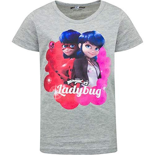 Miraculous LadyBug Cat Noir - T-Shirt Camiseta - para niña - 932-XXX [Blanco - 6 años - 116 cm]