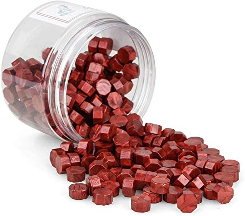 N\C Perle di ceralacca, 180 Pezzi Perle di ceralacca Perle di ceralacca Set di ceralacca, Perle ottagonali di ceralacca, Cera per timbri Colorata per sigillare e Decorare Lettere (Rosso Vino)