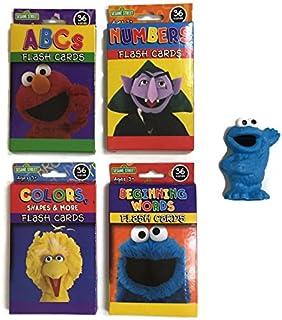 Sesame Street Learning Educational Flash Cards Bundle(4): ABCs, Numbers, Colors and Words (36 / box), 1- Sesame Street PVC Figure(Random) Plus a Bonus Free ...