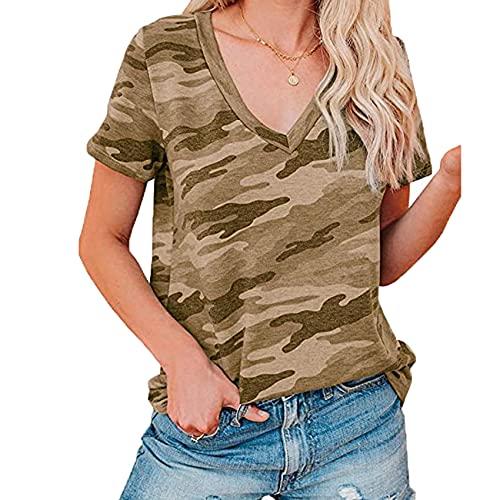 Primavera Y Verano Nueva Camiseta De Manga Corta con Cuello En V Camiseta Casual De Todo FóSforo para Mujer