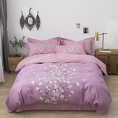 ZHUANQIAN Bedding set Pillowcase Single Double Full Queen Bedspread Ultra Soft Sets Bedroom Duvet Cover Fashion pink flowers