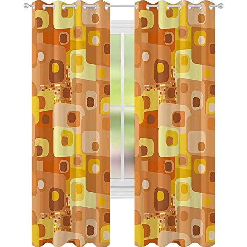 Cortinas opacas - aislamiento de juntas, diseño abstracto cuadrado redondeado Funky geométrico moderno ornamento ilustración de azulejos, 52 x 95 cortinas para sala de estar, multicolor