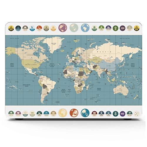 MacBook Pro Case 2015 Printed Cartoon World Map Decor Icon Mac Air Case Hard Shell Mac Air 11'/13' Pro 13'/15'/16' with Notebook Sleeve Bag for MacBook 2008-2020 Version