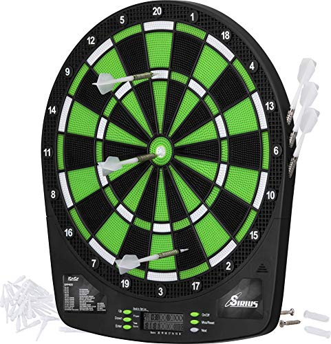 Fat Cat Sirius 135quot Electronic Dartboard Compact Size for Easy Install Backlit Cricket Scoreboard Easy to Use Button Interface Optional Double in/Out Games Durable Thermal Resin Segments