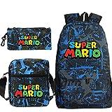 FENGHE Bolso de Mario Nuevo 3 unids/Set Super Mario Bros Mochila Mochilas Escolares para Adolescentes niños niñas niños Mujeres Mochila de Hombro Informal