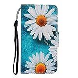 Qsdd Reemplazo para Samsung Galaxy J6 Plus(2018) Funda Cuero Premium Flip Wallet Cierre Magnético Diseño de Libro con [Cierre Magnético][Ranuras para Tarjetas] Caja del Teléfono-Margaritas