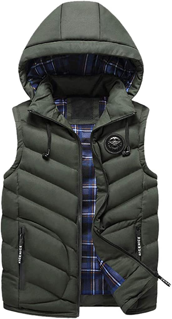 Promotions Mens Hoodies Vest Casual Padded Cotton Coat Fashion Warm Thick Vest