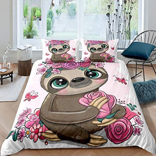 Loussiesd - Funda de edredón para niñas y niños, diseño de animales, diseño de flores, diseño de rosas y flores, diseño de mariposas, para decoración de habitación