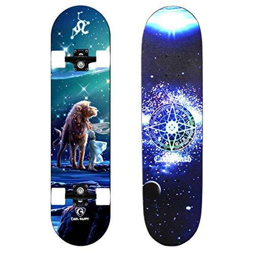 AKT Junge Mädchen Skateboard Double Kick Skateboard Pro 31 x 8 Zoll Trick Skateboard mit 4 PU Lichtrad zum Kind Jugend Bestätigen,Leo