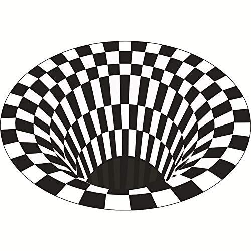 Grande Redondo Alfombra,3D Vórtice Ilusión Alfombra De Salón Alfombras,3D Negro Blanco Cuadros Alfombra,para La Decoración del Hogar del Dormitorio De Los Niños-Negro Diámetro:200cm