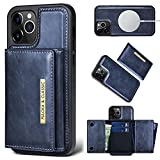Compatible with iPhone 12 Pro Max Leather Case with Magnetic Wallet, 6.7'' 12 Pro Max Charger Wallet Phone Case [3D Drop Tested] Compatible with Magsafe Kickstand Card Holder Leather Wallet (Blue)