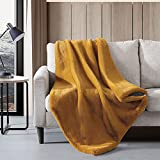 Vera Wang   Lapin Collection   Soft and Cozy Faux Fur Throw Blanket, Lightweight and Perfect for Sofa Couch or Bed, Modern and Stylish Home Décor, 50 in x 60 in, Gold
