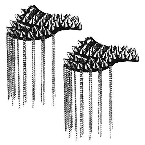 IEFIEL 2Pcs Vintage Spike Rivet Tassel Epaulet Shoulder Boards Badge Shoulder Chain Brooch Black One Size