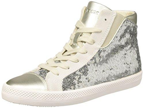 Geox D Giyo A, Sneaker a Collo Alto Donna, Argento (Silver), 40 EU