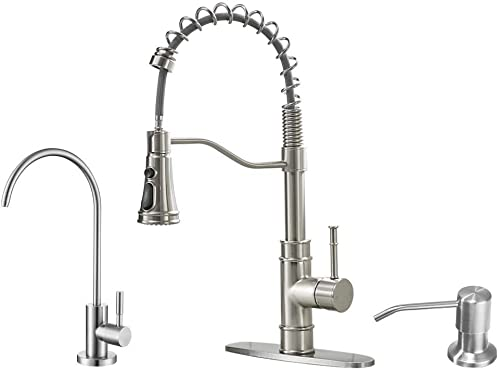popular OWOFAN Brushed Kitchen Faucet Including Stainlees Steel Drinking lowest Water Faucet, and Copper 2021 Soap Dispenser outlet sale