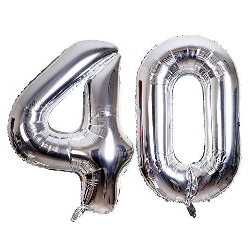 SMARCY Palloncini Gonfiabile Numero 40 Palloncini Compleanno 40 Anni Decorazioni Compleanno Argento