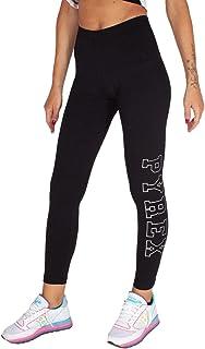 Pyrex Leggings Donna Nero Stampa Flock con Logo eprofilo Glitter