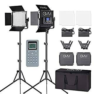 GVM LED Video Lighting Kit CRI97 Bi-Color 3200K-5600K Dimmable Video Lights for Studio Portrait Outdoor Interview PhotographyLighting,with Wireless Control, Carry Case. (B0792R77BN) | Amazon price tracker / tracking, Amazon price history charts, Amazon price watches, Amazon price drop alerts
