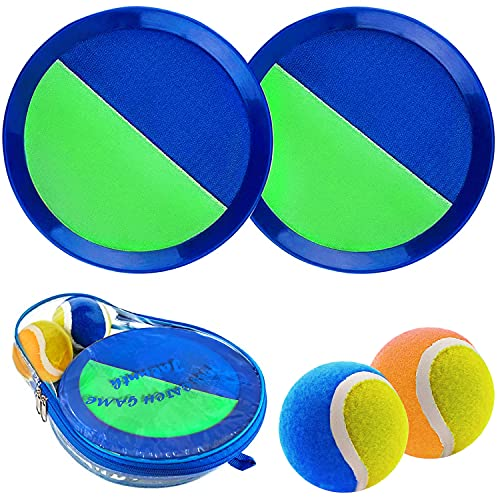 Jalunth Ball Catch Set Game Toss Paddle - Beach Toys Back Yard Outdoor Games Lawn Backyard Throw Sticky Mitt Set Age 3 4 5 6 7 8 9 10 11 12 Years Old Boys Girls Kids Adults Family Outside Easter Gifts