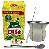 Yerba Mate CBSé Hierbas Cuyanas 0,5 kg | Vaso mate de cristal con revestimiento de piel (blanco) – Kalebasso | Pajita de acero inoxidable – Bombilla | Cepillo de limpieza