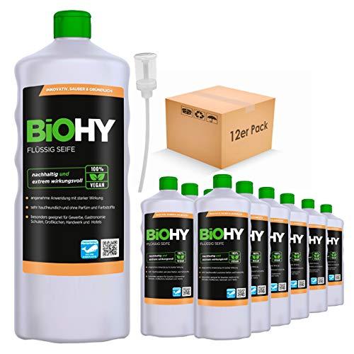 BiOHY Jabón líquido (12 botellas de 1 litro) + Dosificador | Jabón líquido para manos inodoro, agradable a la piel y reengrasante | Sin perfume ni colorantes (Flüssig Seife)