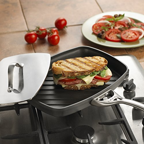 Calphalon Contemporary Hard-Anodized Aluminum Nonstick Cookware, Panini Pan and Press, 13 3/4-inch, Black