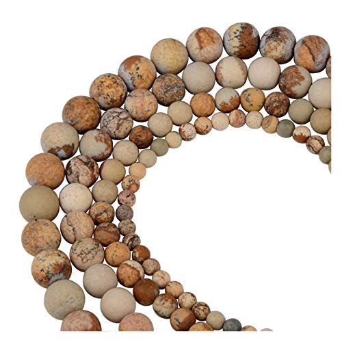 HETHYAN Cuentas redondas mate de ojo de tigre turquesas de piedra natural de sandía para hacer joyas de pulsera (color: jaspe de imagen mate, tamaño: 10 mm-36 piezas)