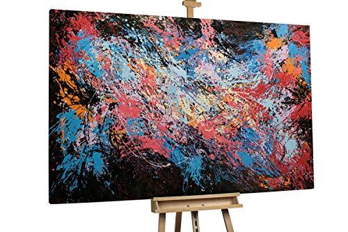 'Life in the Void' 180x120cm   Bunte Elemente auf Schwarz Abstrakt Deko   Modernes Kunst Ölbild