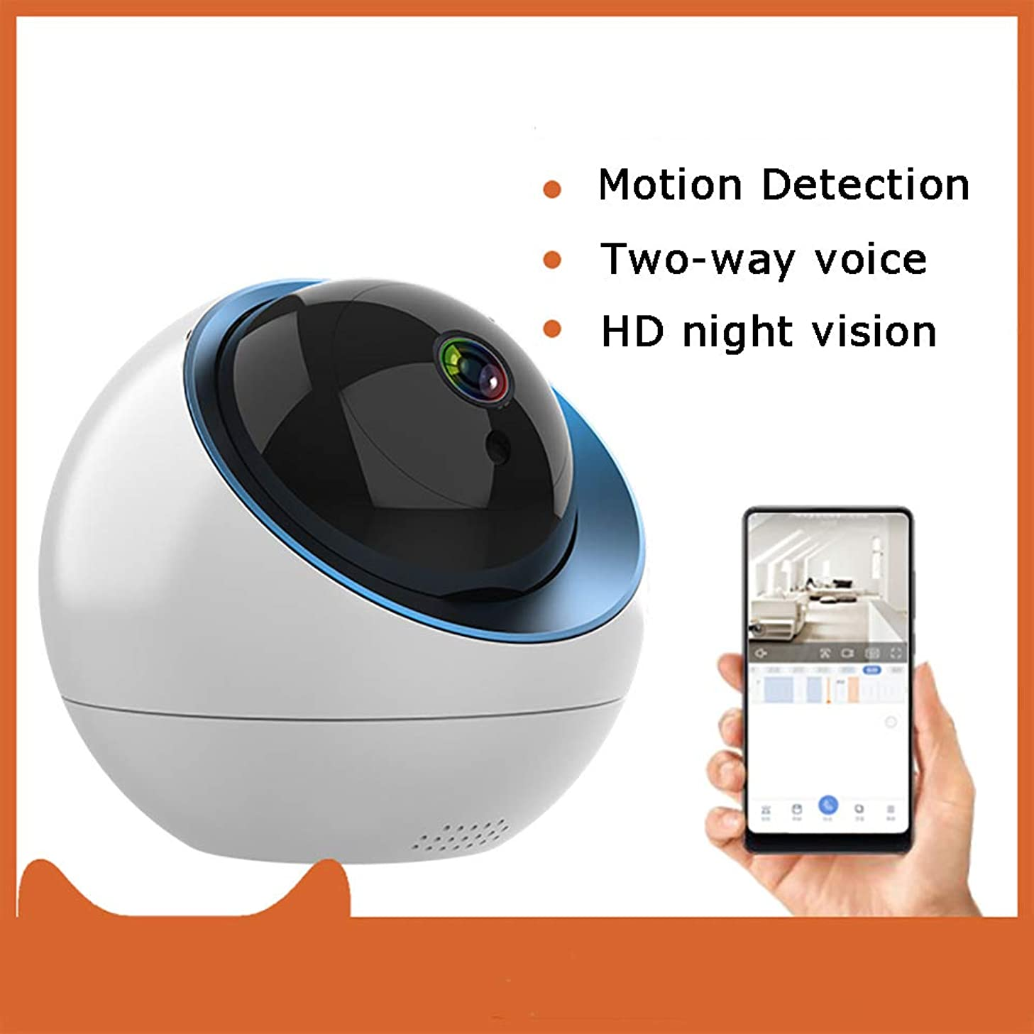 PYXZQW Camera WiFi 1080p Pan/Zoom Home Security System with Night Vision Motion Detection Two-Way Audio for Monitoring Baby Monitor