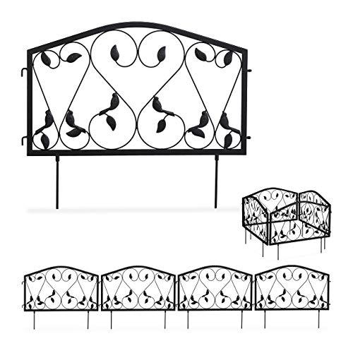 Relaxdays Beetzaun, 4-teilige Beetumrandung für Garten, Steckzaun Eisen, antik, Blätter Design, HxB 33 x 225 cm, schwarz