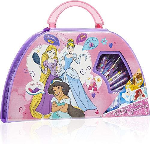 Disney Maletin Pinturas para Niños, Kit Arte Princesas Lapices de Colores Ceras de Colores Rotuladores y Acuarelas Niños, Regalos para Niñas