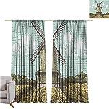 Cortina de sombra holandesa aislada con diseño de molino de viento en una granja y bosque, imagen temática vintage de agricultura, utilizada para aislamiento de dormitorio y reducción de ruido, 132...