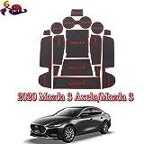 Coche Interior Puerta Seguridad Pad Cup Alfombrillas,para Mazda 3 Axela 2020 Alfombrillas de Goma Antideslizante,Anti-Polvo,decoración automotriz con Logo,15 PCS/Set,Rojo
