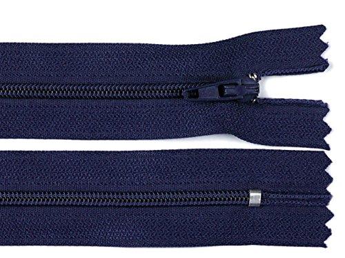 Schnoschi 5 Stück 60 cm Langer Spiralreißverschluss, Nicht teilbar, dunkelblau, 3mm Laufschiene Reißverschluss