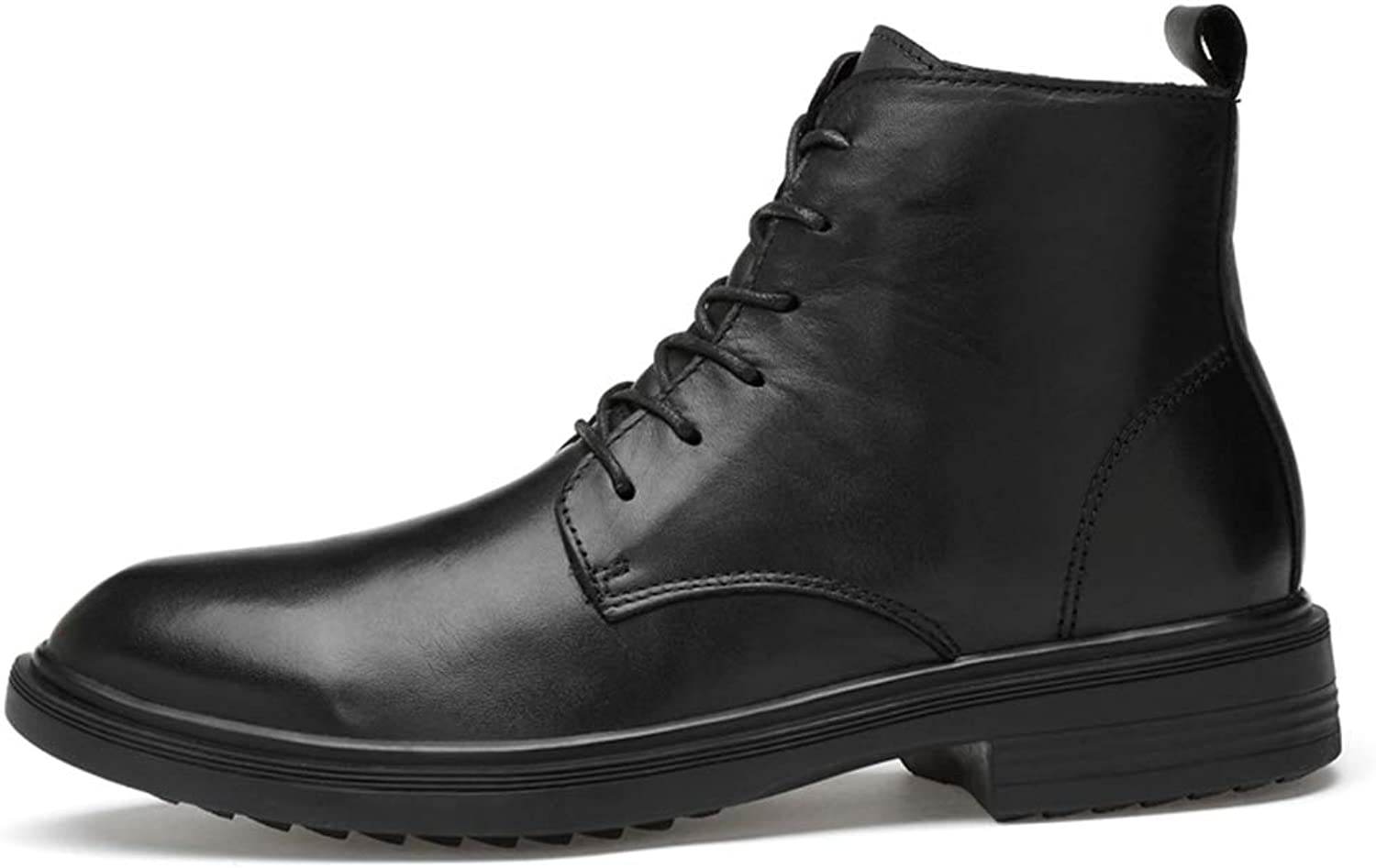 Men's Leather Boots Fall & Winter Tooling Warm Boots Knight Boots Lace Up Martin shoes High-Top Casual Leather shoes Black,A,40