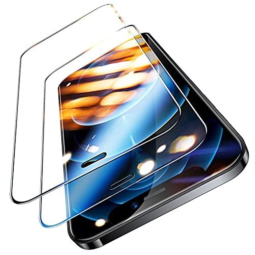TORRAS Militärische Vollbild Panzerfolie für iPhone 12/12 Pro Schutzglas (9H Härte Full Screen) Unzerstörbare 3D Schutzfolie mit Installationswerkzeug (2 Stücke)