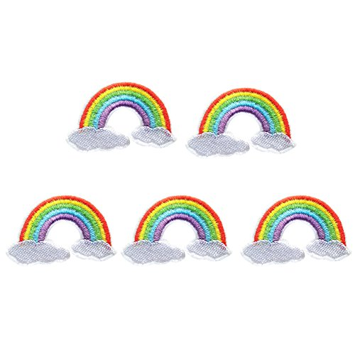 XUNHUI Bestickt Flicken für Kleidung nähen Regenbogen Flicken Kleidung DIY Motiv Aufnäher Aufkleber 5 Stück