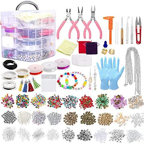 Kit de Suministros de fabricación de Joyas, Pendientes 2015pcs y Kits de Herramientas de reparación Gran Regalo para niñas Adolescentes Principiantes Mujeres