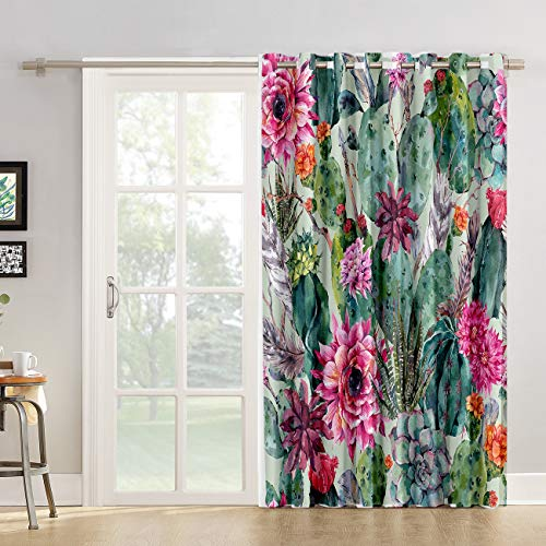 Kitchen Tier Curtains 84 inch Length Chic Window Drapes Panel for Living Room Bedroom Bohemian Draperies, Boho Colorful Cactus Flower Patterned Fabric Curtain for Sliding Glass Door Patio Door