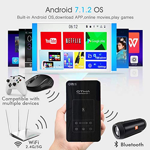 OTHA Proyector Mini Portátil, Mini Proyector Android 7.1.2, Proyector DLP, Soporte 1080P Bluetooth HDMI Airplay Wifidisplay Eshare, para Cine en Casa Inalámbrico, Compatible con Fire TV Stick/PS3/PS4